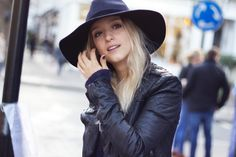 THEFASHIONGUITAR wearing a French Connection fedora, and a Muubaa leather biker jacket