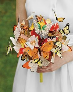 Love this unique wedding bouquet! Butterfly Bouquet by Martha Stewart Weddings - Be a Stunning Bride: 20 Most Beautiful Wedding Bouquet Ideas - EverAfterGuide Quirky Wedding, Nontraditional Wedding, Unique Weddings, Diy Wedding, Wedding Ideas, Summer Wedding, Wedding Blog, Garden Wedding, Wedding Photos