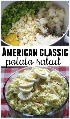 Classic american potato salad recipe - the perfect bbq side dish to bring. Best potato salad ever #americanfood #potato #salad #potatosalad #americanpotatosalad #americanrecipes #saladrecipes #potatorecipes