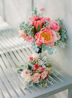 coral peonies, ranunculus and protea bouquet Photography by Kirsten Ellis / beauxartsphotographie.com, Event Design Planning by Orange Blossom Special Events / orangeblossomspecialevents.com, Floral Design by THE LITTLE BRANCH / THELITTLEBRANCH.COM #Bouquets