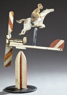 Polychromed Carved Wooden Whirligig of a Horse and Jockey, New Hampshire, c. 1930, on an integral wooden base