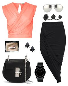 """Coral Dream"" by jessadeath on Polyvore featuring River Island, Movado, Kendra Scott, Persy, Linda Farrow, Chloé, coral, wrapskirt and whiteliner"