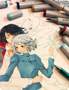 Howl and Sophie with markers. someday...someday i'll be able to draw and color like this... In my dreams!
