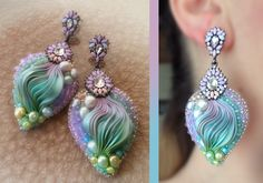 EARRINGS Design by Serena Di Mercione --- beadembroidery, shibori silk