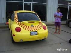 the softball beetle! This will probably be Sophia first car! Softball Shoes, Softball Party, Softball Crafts, Girls Softball, Softball Stuff, Softball Things, Softball Clothes, Softball Jewelry, Senior Softball