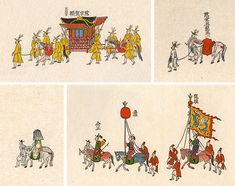 Korean Documentary Painting - Royal Procession to the City of Hwaseong Illustration Story, Korean Art, Tibet, Art For Kids, Documentaries, Oriental, Miniatures, Fine Art, Classic