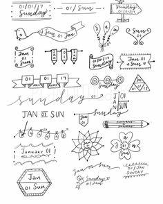Résultats de recherche d'images pour « bullet journal date layouts Doodle Bullet Journal, Bullet Journal Headers, Bullet Journal Banner, Bullet Journal Inspo, Journal Diary, Bullet Journals, Journal Fonts, Bullet Journal Aesthetic, School Notes