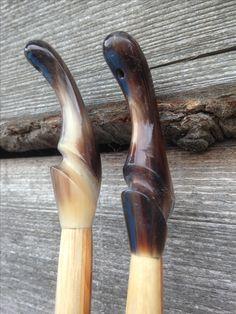 Cow horn nocks on recently built pair of English yew longbows. Boyton Archery.