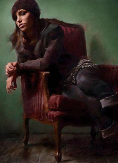 """""""Allure"""" - Casey Baugh (b. 1984) {contemporary figurative art beautiful female seated woman grunge painting #loveart} caseybaughfineart.com"""