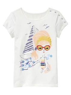 Button graphic T | Gap kids    They have so many of these little fashionista girl graphics...seems too sophisticated for my market
