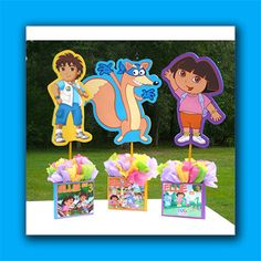 DIY & Supply Kit Small Dora Birthday Party Centerpiece, Dora the Explorer birthday party on Etsy, $18.00