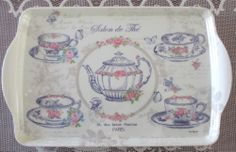 Dora Papis Shabby Roses French Chic Paris Tea Room Shop Melamine Resin Tray New