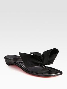 Leather & Nylon Bow Thong Sandals                              			          			       			     	  			         	 $695.00
