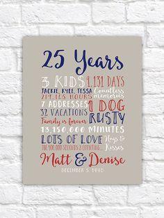 25th Wedding Anniversary Gift Paper Canvas Twenty Fifth 10 Year 20 2 Men Husband Partner Pas Wf15