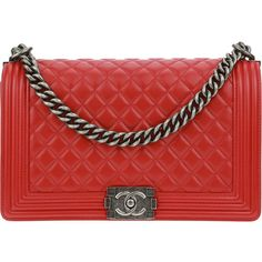 Pre-owned Chanel Red Lambskin Leather New Medium Boy Bag ($4,650) ❤ liked on Polyvore featuring bags, handbags, chanel handbags, red crossbody handbags, antique purses, red cross body purse and zipper handbag