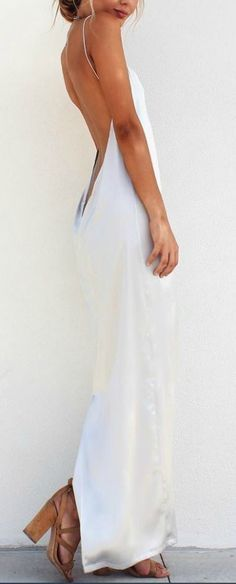 lovely backless silk maxi dress