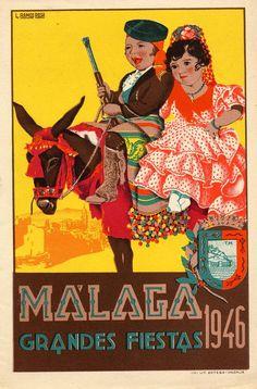 Malaga Spain, Vintage Travel Posters, Spain Travel, Magick, Places To Travel, Art Nouveau, Retro, Movie Posters, Vintage Illustrations