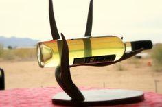 ETSY  Natural Antler Wine Holder with Mesquite Base