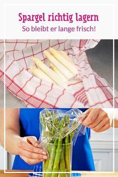 Du hast frischen #Spargel gekauft, möchtest ihn aber nicht gleich zubereiten? Mit unseren Tipps zum Lagern bleiben die Stangen ein paar Tage länger frisch. Wusstest du zum Beispiel schon, dass du weißen Spargel anders lagern solltest als grünen Spargel? #spargelzeit #spargelrezepte #spargellagern #küchentipps #nachhaltigkeit ##weißerspargel #grünerspargel #rezepte #rezeptideen Celery, Vegetables, Diy, Food, Tricks, Hip Bones, Meal, Cooking, Best Asparagus Recipe
