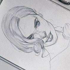 Girl Hair Drawing, Cute Girl Drawing, Cute Drawings, Pencil Sketch Drawing, Pencil Art, St Cuthbert, How To Draw Hair, Foto E Video, Sketching