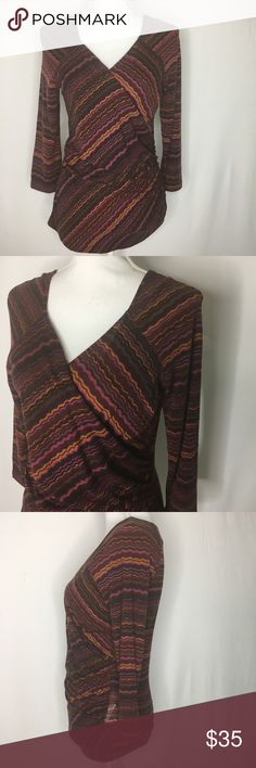 """Max Mara chevron print faux wrap v neck blouse Knit top with 3/4 sleeves. Made in Italy.  Pit to pit: 16.5"""" Shoulder to hem: 25"""" #437 MaxMara Tops Blouses"""