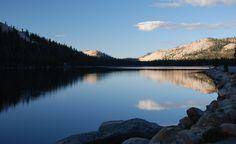 Fall morning sunrise over Tioga Lake, in Yosemite National Park