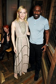 Cate Blanchett and Idris Elba attend Harvey Weinstein's pre-BAFTA dinner in partnership with Burberry and GREY GOOSE at Little House Mayfair on February 12, 2016 in London, England.