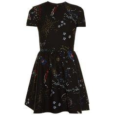 Valentino Astrocouture round-neck crepe mini dress (5 965 AUD) ❤ liked on Polyvore featuring dresses, black multi, metallic mini dress, mini dress, galaxy print dress, metallic dress and short cocktail dresses
