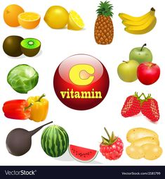 Vitamin C in foods of plant T Royalty Free Vector Image Vitamin A, Free Vector Images, Vector Free, Mineral Chart, Mineral Nutrition, Vitamins And Minerals, Healthy Recipes, Healthy Food, Helpful Hints