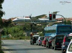 A Plane landing at Corfu Airport Corfu Greece