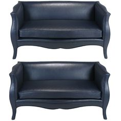 Pair Richard Himmel Lutece Settees In Blue Edelman Calfskin | From a unique collection of antique and modern settees at http://www.1stdibs.com/furniture/seating/settees/