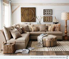 Sillón, sofá, colores tierra, diseño, natural Living Room Designs