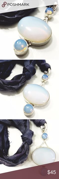 Irridescent Opalite Pendant on Silk Choker 925 Sterling Silver Overlay Opalite Pendant on upcycled sari silk laces that tie at neckline for length adjustability.   ✦ Opalite has a calm, gentle and soothing affect when seen or held. Also known as Sea Opal, it brings peace and is a beneficial stone to keep in areas where serenity is needed.   ✦ It is a stone of success and perseverance and will help you reach your goals. The changing color of opalite lends beauty and inspiration to the user…