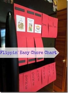 Easy Chore Chart with magnets made from legal sized folder