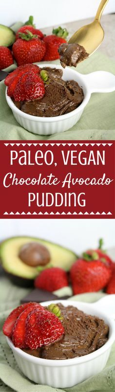 Looking for a healthy dessert to indulge in? Try this Paleo Chocolate Avocado Pudding Recipe. Made with only a few ingredients + packed with healthy fats! It's a chocolate lover's dream!  | paleo dessert | paleo pudding | chocolate pudding | desserts made