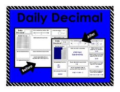 $1.99 This package contains a Common Core aligned Daily Decimal printable. For each decimal, students will: illustrate, place on a number line, compare using inequality symbols, write in word form, write in expanded form, list equivalent fractions, list equivalent decimals, round to the nearer tenth, find the missing addend to equal a sum of one, add one, add one tenth, and subtract one tenth.
