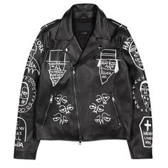 Indie Designs Graffiti Embroidered Leather Biker Jacket
