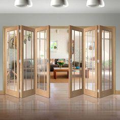 Six Folding Doors & Frame Kit - Worcester Oak 3 Pane - Clear Glass Living Room Partition Design, Room Partition Designs, Patio Plan, Internal Folding Doors, Primed Doors, Folding Walls, Folding Room Dividers, Wooden Sliding Doors, Room Divider Doors