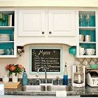 Looking for a quick, yet dramatic change in your kitchen?  Take off the doors, paint the shelving and back of cabinet.  Perfect.