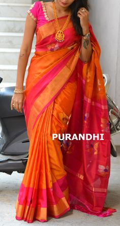 Uppada jamdani saree comes with Silver and Gold jari flowers weaving all over. For more details please contact us on whats app : 9701673187  Email : purandhistore@gmail.com