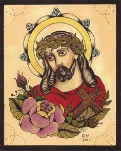 Jesus  Tattoo Flash print by underhiswing on Etsy, $15.00