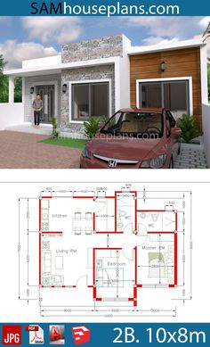 House Plans with 2 Bedrooms - Sam House Plans 3 Room House Plan, 2 Bedroom House Plans, Pool House Plans, Basement House Plans, Simple House Plans, Bungalow House Plans, Dream House Plans, Indian House Plans, House Construction Plan