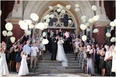 wedding balloon release... lots of wedding sendoff ideas from rose petals, to confetti, to lavendar, etc...