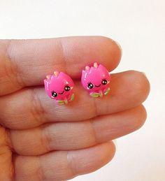 Happy tulip earrings pink tulip earrings flower by PokeysWorld