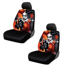 DC Comics Harley Quinn Seat Covers. Help protect your vehicles seats from wear and tear. Universal Fit designed for Low Back seats. Not meant for High Back/ Bucket seats, seats with built in arm rest