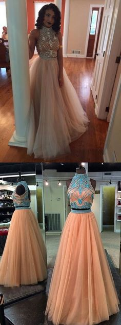 two-piece high-neck prom dress with open back, long tulle prom dress