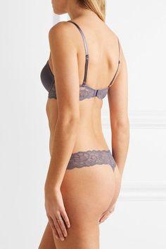 Calvin Klein Underwear - Seductive Comfort Lace-trimmed Satin Contour Bra - Anthracite - 32DD