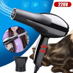 Professional Electric Hair Dryer Salon Ionic Adjustable Speed Blower Home Salon Hair Dryer, Professional Hair Dryer, Beauty And The Best, Makeup Items, Salons, Cool Hairstyles, Hair Makeup, Electric, Lounges