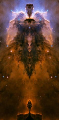 Stellar Spire in The Eagle Nebula.  This is an original Hubble Space Telescope image that has been manipulated with a mirror effect.
