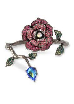 Betsey Johnson  Pave Rose  Faceted Stone Wrap Hinged Bangle Bracelet